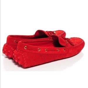 LOUIS VUITTON Suede Monogram Gloria Loafers 39 Red